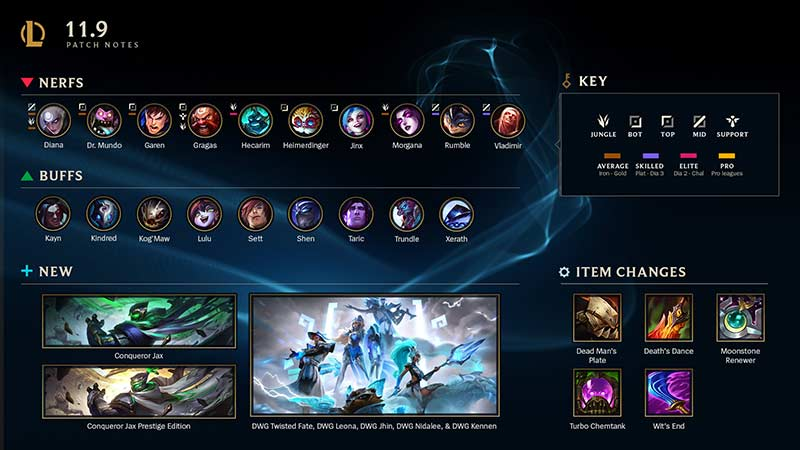 League of Legends Patch 11.9 MSI nerfs and Buffs