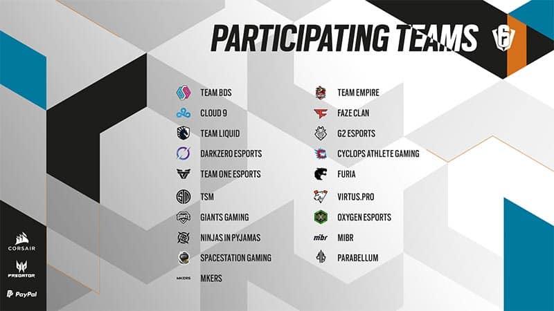 Six Invitational 2021 Teams competing